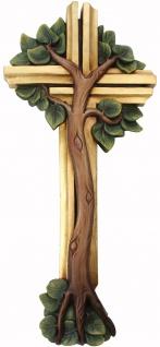 Lebensbaum Holzkreuz geschnitzt Südtirol Kruzifix Kreuz