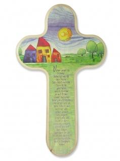 Kinderkreuz Dorf Vater unser Gebet Naturholz 20 x 12 cm Wandkreuz Holz Kreuz