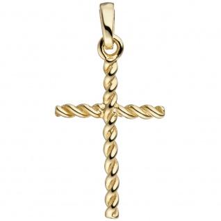 Schmuckkreuz gedreht schmal 333 Gold Gelbgold Kreuzanhänger Goldkreuz