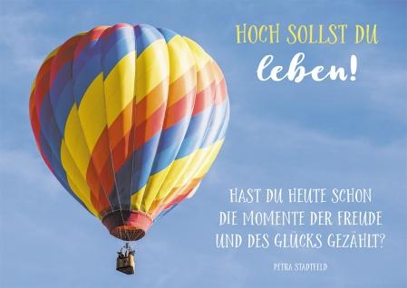 Postkarte Geburtstag Heißluftballon 10 St Adressfeld Himmel Freude Glück