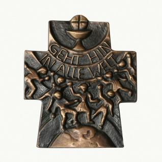 Wandkreuz Gehet hin in alle Welt Bronze dunkel patiniert 10 cm Schmelter Raimund