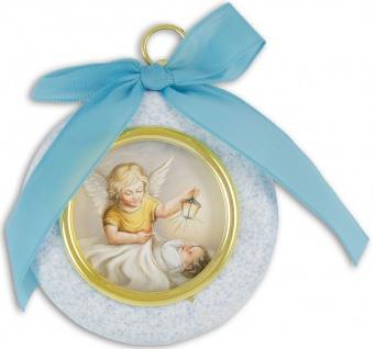 Schutzengelbild Junge 7 cm rund blau mit Band
