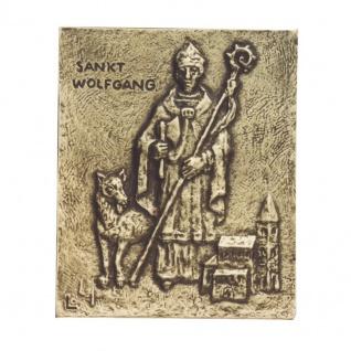 Namenstag Wolfgang 13 x 10 cm Namenspatron Bronzerelief Wandbild Schutzpatron