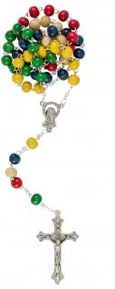 Missions-Rosenkranz bunte Perlen 5 Farben 47 cm