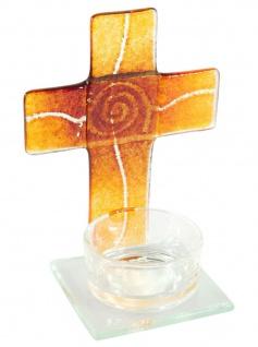 Teelichthalter Kreuz zur Meditation Orange Rot Glas 11 cm Stehkreuz für Kerze
