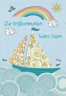Glückwunschkarte Zur Erstkommunion Gottes Segen (6 St) Segelboot und Regenbogen
