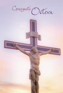Klappkarte Gesegnete Ostern (6 St) Kreuz mit Korpus Johannes Lutherbibel