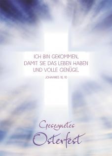 Postkarte Gesegnetes Osterfest (10 St) Leuchtendes Kreuz Johannes Lutherbibel