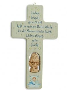 Kreuz für Kinder Schutzengel Ton-Engel Gute Nacht Gebet Kruzifix Holz-Kreuz