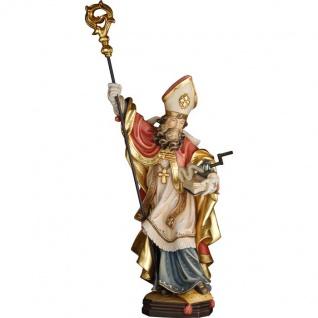 Heiliger Dietmar mit Gedärmewinde Holzfigur geschnitzt Südtirol Schutzpatron