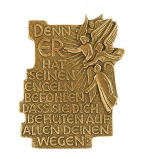 Plakette Denn er hat seinen Engeln 11 cm Bronze Schutzengel Wandbild Deko