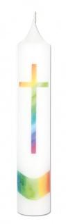 Kommunionkerze Regenbogen-Kreuz 26, 5 cm Erstkommunion Kerze zur Kommunion