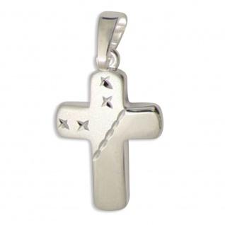 Schmuck Kreuz Anhänger diamantiert 925 Sterlingsilber 1, 6 cm Taufschmuck