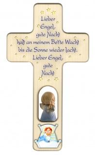 Kreuz für Kinder Schutzengel, blau Gute Nacht Gebet Kruzifix Holz-Kreuz