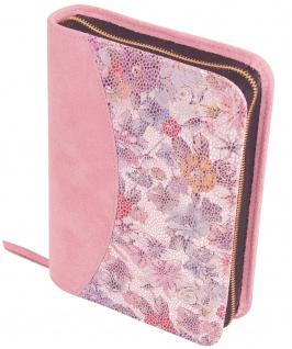 Gotteslobhülle Blütenmuster Rosa Großdruck Velourleder Gesangbuch Einband