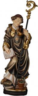 Heiliger Benedikt mit Schlange Holzfigur geschnitzt Südtirol Schutzpatron