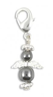 Schlüsselanhänger Engel Hämatit 3 cm mit Karabiner Schutzengel Anhänger
