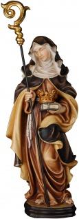 Heilige Irmgard mit Stab und Krone Holzfigur geschnitzt Südtirol Schutzpatronin