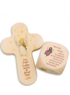 Kinderkreuz Gebetswürfel Engel Geschenk-Set Kommunion Naturholz 15cm Abendgebete