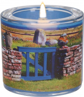 Windlicht Glas Irischer Segen Teelicht Natur-Motiv Pergament-Umleger