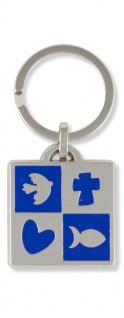 Schlüsselanhänger blau Taube Kreuz Herz Fisch 6, 8 cm Christlich