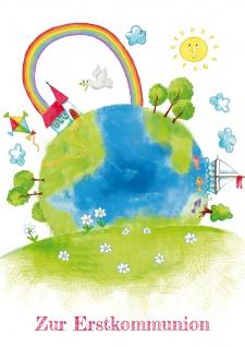 Glückwunschkarte Zur Erstkommunion mit farbigem Kuvert 6 Stück