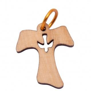 Schmuck Kreuz Anhänger TAU Taube 2 cm Kruzifix Olivenholz Lederband Holzkreuz