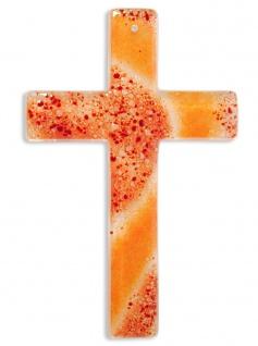 Kreuz aus Glas Fusing Glas Kreuz Handarbeit rot orange 20 cm Wandkreuz