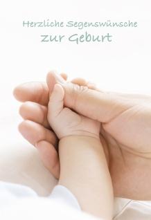 Geburtskarte Herzliche Segenswünsche zur Geburt (6 Stck) Hände Glückwunschkarte