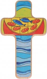 Kinderkreuz Brot und Fische Holz 18 cm Geschenkverpackung Wandkreuz Kruzifix