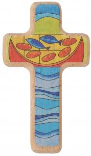 Kinderkreuz Brot und Fische Holz 11 cm Kommunion Wandkreuz Kruzifix