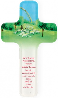 Kinderkreuz Guter Hirte 18 cm Acrylglas Wandkreuz Geschenk zur Kommunion