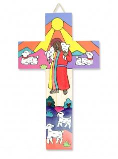 Kreuz für Kinder Guter Hirte El Salvador 15 cm Kruzifix Holz-Kreuz Wandkreuz