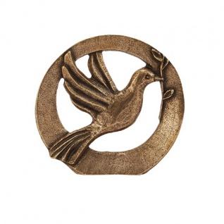 Standrelief Friedenstaube im Bogen Ø 9 cm Bronze Skulptur