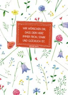 Postkarte Wir wünschen dir (10 St) Blumen Irmgard Erath Grußkarte