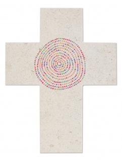 Wandkreuz Naturstein hell Kreise bunt Kreuz 13 x 17 cm Kruzifix Christlich