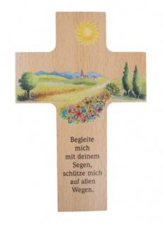 Kinderkreuz Begleite mich 16 cm Wandkreuz Höcker Holzkreuz