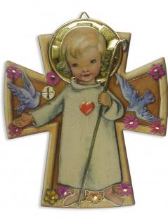 Schutzengel Bild Engel mit Herz 12 x 10 cm Wandbild für das Kinderzimmer