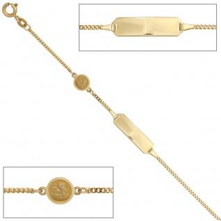 Schild-Armband Schutzengel 585 Gold mattiert 14 cm Gravurfähig Kinderschmuck