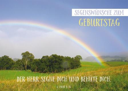 Postkarte Geburtstag Regenbogen 10 St Adressfeld Bibelwort Segen Schutz