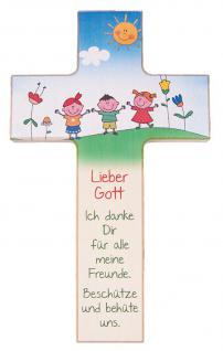 Kinderkreuz Meine Freunde Buchenholz 15 cm 20 cm Wandkreuz Kunstdruck bunt Kreuz