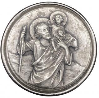 Christophorus Autoplakette Ø 3, 5 cm Metall Silberfarben mit Magnet/Klebepad