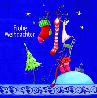Weihnachtskarte mit Glitterlack Frohe Weihnachten (6 St) Grußkarte Kuvert