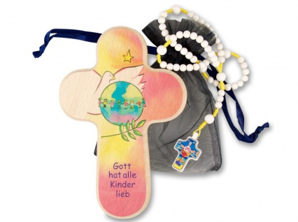 Geschenkset zur Erstkommunion Holzkreuz Rosenkranz