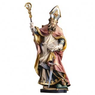 Heiliger Winfrid mit Schwert Heiligenfigur Holz geschnitzt Südtirol