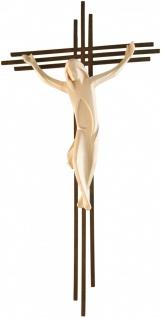 Wandkreuz Kruzifix Corten-Stahl-Kreuz dreifach Korpus geschnitzt handbemalt 34cm