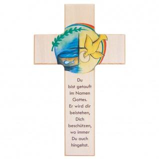 Wandkreuz Taufe Kinderkreuz Buchenholz lackiert Kunstdruck Text 15 cm 20 cm