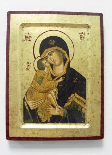 Ikone Madonna Vladimir 20 x 25 cm vergoldet Handarbeit aus Griechenland