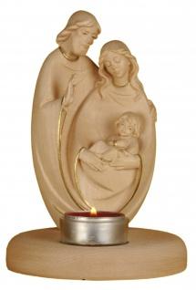 Heilige Familie gewachst Goldrand rund mit Teelicht Holz Figur Schnitzkunst