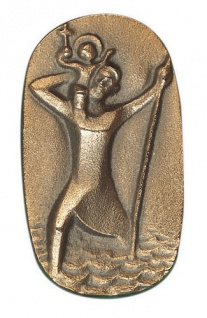 Autoplakette Christophorus 5 x 3 cm Bronze Christophorus Plakette
